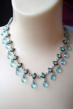 Lia Sophia PALACIOS Blue Crystals Silver Tone Necklace New 14-17""