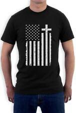 Christian Distressed White USA Cross Flag Religious T-Shirt Gift Idea