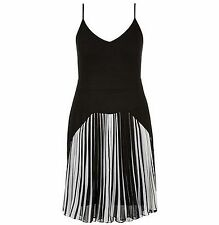 City Chic Size M/18 Pleated Diva Stripe Dress | Black & White  NWT