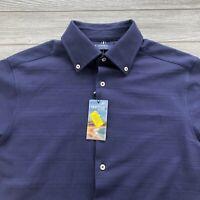 CREMIEUX Collection MEN'S SHORT SLEEVE BUTTON DOWN SHIRT Blue Medium Cotton