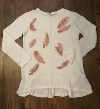 AGE 6-7 ZARA WHITE/PINK FEATHER TOP SUMMER/SPORT/HOLIDAY/BEACH/TOWIE/GYM/PARTY