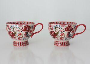 Jennifer Orkin Lewis Pedestal Coffee Cups Mugs (2) Anthropologie Floral Birds