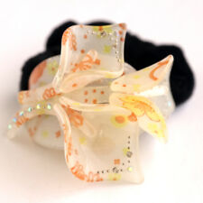 Rhinestone Lily Peach Hair Tie with Black Velvet Scrunchie Ponytail Elastic
