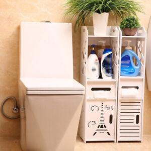 Bathroom Floor Cabinet  Toilet Bath Organizer Drawer Shelf Wood Whit