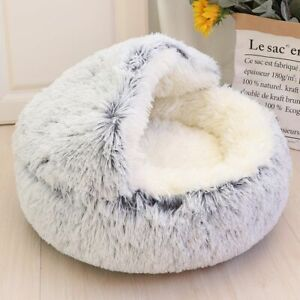 Plush Pet Cat Bed House Warm Round Dog Cat Kitten Bed Nest Cave Sofa Basket