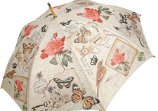 CLIFTON Umbrella - Modern Vintage Col - BUTTERFLY - Rubberised Handle/Black Tip
