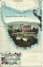 MAP OF TASMANIA GOVERNMENT HOUSE HOBART POSTCARD