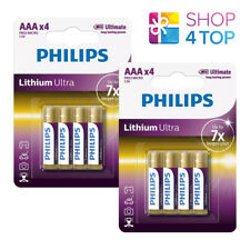 8 Philips Lithium Ultra AAA Batteries Micro FR03 1.5V Blister 4BL Exp 2030 New