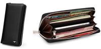 Men Wallet cow Genuine Leather Purse billfold Clutch long Zip black 4964081-01