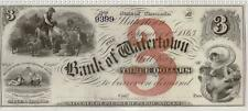 1800's Wisconsin $3 Obsolete Note | UNC | Bank of Watertown | Great Vignettes