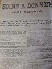 60 X 40  SOINS A DONNER AUX BLESSES PLACARD  PRESSE SIEGE PARIS 1870