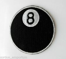 EIGHT BALL 8 BALLED CRAZY POOL BILLIARDS NOVELTY EMBROIDERED PATCH 3 INCHES
