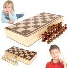 Hand Crafted Game Toy Chess Set Parquet Wood Board & Wooden Pieces Gift Kids BA