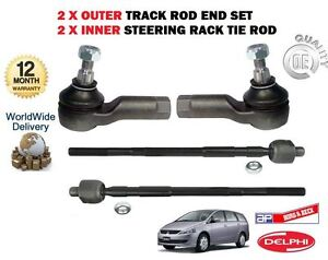 FOR MITSUBISHI GRANDIS 2003-> NEW 2x OUTER + 2x INNER TRACK RACK TIE ROD END SET