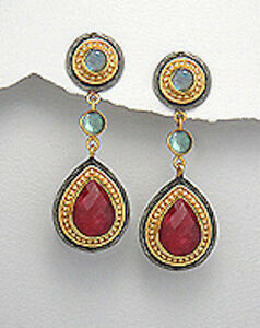 """18K Yellow Gold Plated Over Brass Natural Red Ruby 2"""" Dangle Earrings"""