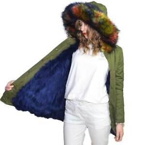 Parka donna lungo verde con pelliccia  multicolor voluminosa glamour