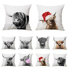 Home Art Highland Cow Cattle Linen Pillow Case Cushion Cover Sofa Bed Car Decor