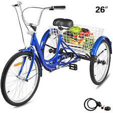 26'' Adult Tricycle 1-Speed 3 Wheel Blue Comfortable Large Basket W/Tools & Lock