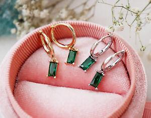 Sterling Silver Dainty Drop Dangle Baguette Hoop Earrings Emerald Charm Hoops