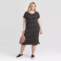 Women's Plus Size Striped Short Sleeve T-Shirt Dress - Ava & Viv™ Black/White  X