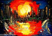 SUN CITYSCAPE   ORIGINAL OIL Painting  Stretched RUSSIAN IMrtyRTH