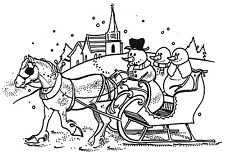 Unmounted Rubber Stamp, Seasonal Stamps, Snowmen, Christmas, Snowman Sleigh Ride