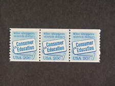 United States Sc# 2005 Coil Line Strip of 3 P#3 Consumer Ed 20c Stamps Mnh s951