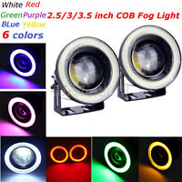 COB 2.5/3/3.5 inch LED Fog Light Projector Angel Eye Halo Ring DRL Driving Bulbs