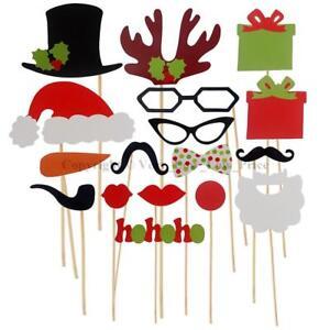 17pcs Christmas Party Xmas Selfie Fun Photo Booth Prop Set Mustache Lip on Stick