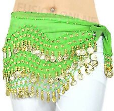 3 ROWS BELLY DANCE HIP SCARF WRAP BELT DANCER SKIRT COSTUME COINS ALL COLOURS