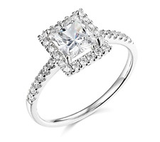 1.90 Ct Princess Cut Halo Engagement Wedding Promise Ring Solid 14K White Gold
