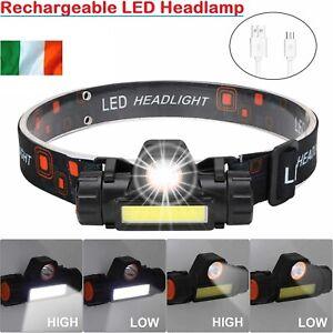 LED Headlamp USB Rechargeable  Head Torch Flashlight Headlight Work light Bright