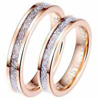 His and Hers Matching 4mm Rose Gold Tone Tungsten Wedding Couple Rings Set