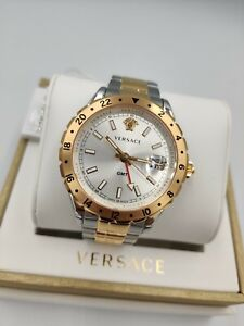 Versace Men's Luxury Swiss Watch V11030015 GMT Blue Dial Two-Tone Bracelet 1yr W