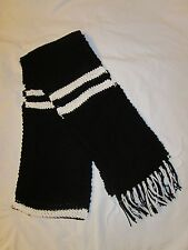 Hand Knit Scarf-  Black and White Scarf with Fringe