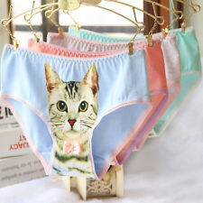 PRO.Women's Underwear Cute 3D Cat Print Cotton Briefs Panties Knickers Intimates