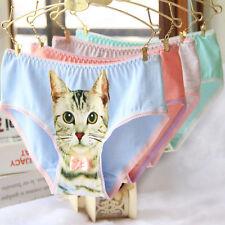 New Women's Underwear Cute 3D Cat Print Cotton Briefs Panties Knickers Intimates