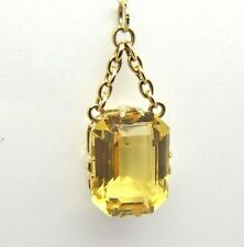 Citrine Rectangular Vintage Pendant - 9ct Yellow Gold - 16x12mm
