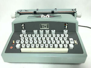 Hermes 10 VINTAGE Mint Green Electric Typewriter + Case - Made in Switzerland