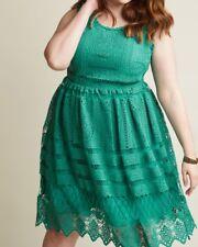 Geode Plus Size 2X Teal Blue Green Crochet A-Line Sleeveless Dress