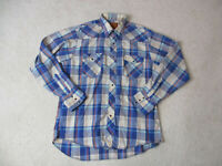Rustler Pearl Snap Shirt Adult Large Blue Red Long Sleeve Western Cowboy Rodeo