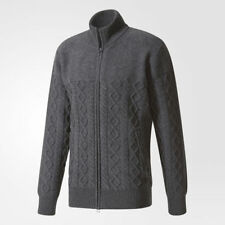 new ADIDAS ORIGINALS BY WINGS + HORNS FELTED TRACK JACKET sz M gray cardigan top