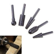 5 Pcs Steel Rotary Burr Set Rasp Drill Bits Shank Wooden Carving Grinding Tool