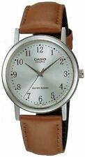 Casio Men's Brown Leather Strap Watch, Silvertone Dial, MTP1095E-7B