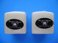 """New 2 WHITE Cube Square Fireside Unscented Candles 2.75""""x3.0"""" - Ship PRIORITY"""