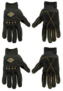 2 Pack HARLEY DAVIDSON Motorcycle Leather Palm MOTO Work Gloves MADE WITH KEVLAR
