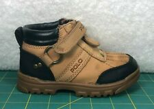 Polo Ralph Lauren Conquest Wheat Tan Black Zip Up Strap Boots~Toddler Size 8