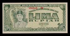 INDONESIA  5 RUPIAH   1947  PICK # 21  UNC LESS.