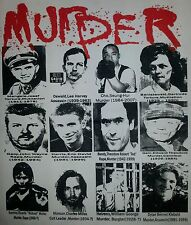 MURDER TOP 12 WORST SERIAL KILLERS OF ALL TIME PUNK GOTH BLACK CANVAS BACK PATCH
