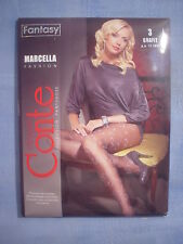 Conte Fantasy Marcella Curly Pattern Pantyhose Size 3 in Gray